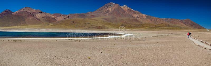 Lagoa de Miscanti no panorama enorme das montanhas de Atacama imagens de stock