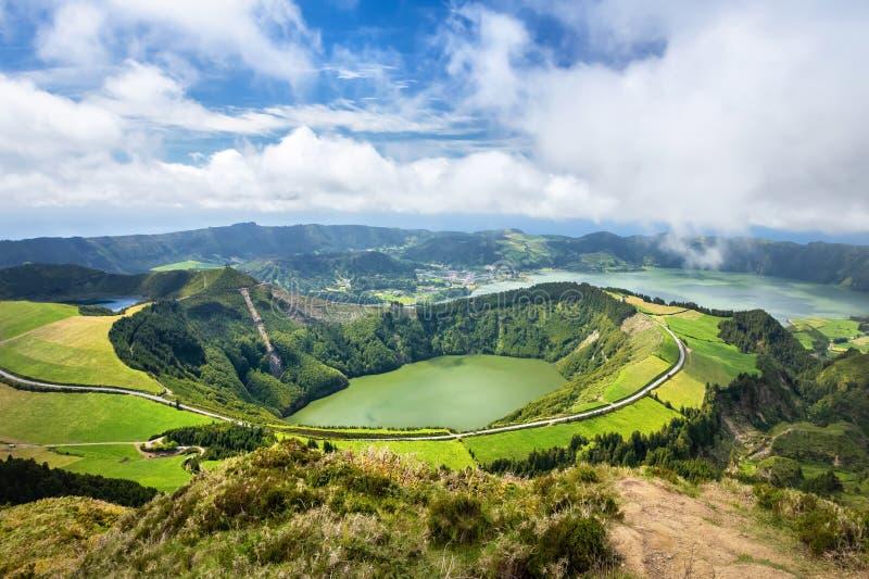 Lagoa de Santiago, complejo del volcán de Sete Cidades, isla de Miguel del sao fotos de archivo
