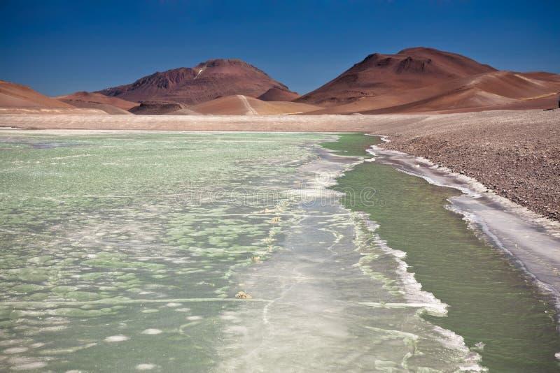 Lagoa do diamante no deserto de Atacama imagens de stock