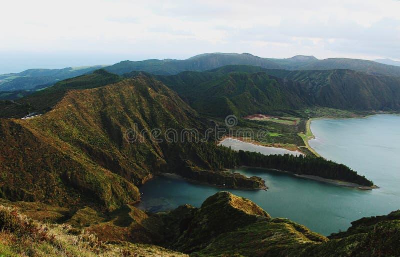 Lagoa do Fogo Angra do Heroismo, Terceira Eiland, de Azoren stock fotografie