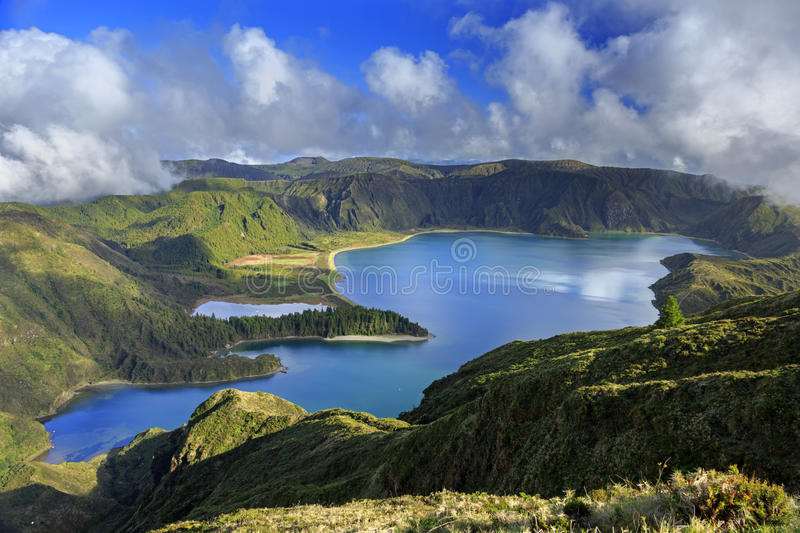 Lagoa do Fogo and green valley on San Miguel island. Of Azores stock photo