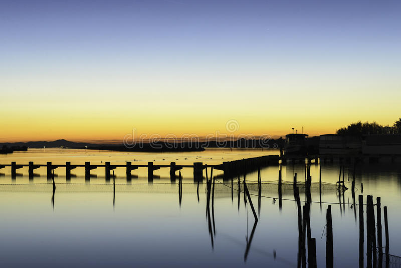 Lagoa do vale de Comacchio fotografia de stock