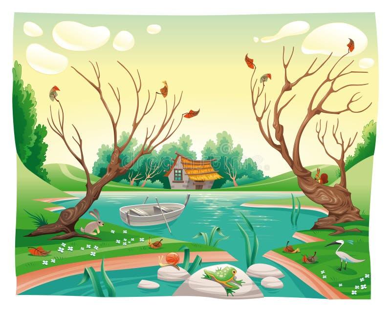Lagoa e animais. ilustração royalty free
