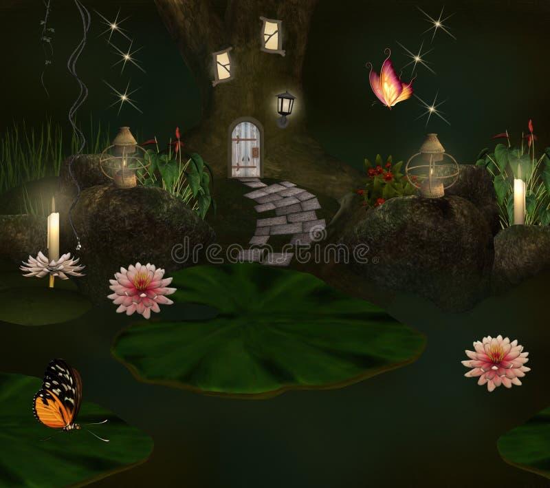 Lagoa e casa Enchanted do duende ilustração royalty free
