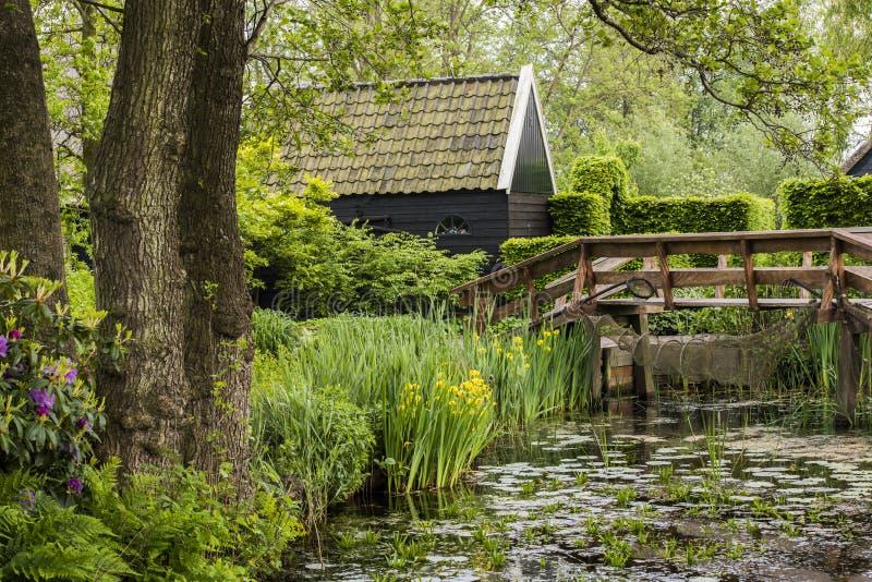 Lagoa e jardim em Giethoorn fotografia de stock
