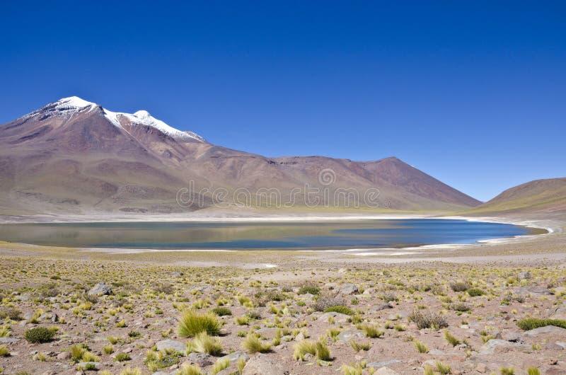 Lagoa e montanha de Miniques no deserto de Atacama imagens de stock royalty free