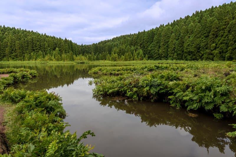 Lagoa faz Canario na ilha do Sao Miguel nos Açores, Portugal foto de stock