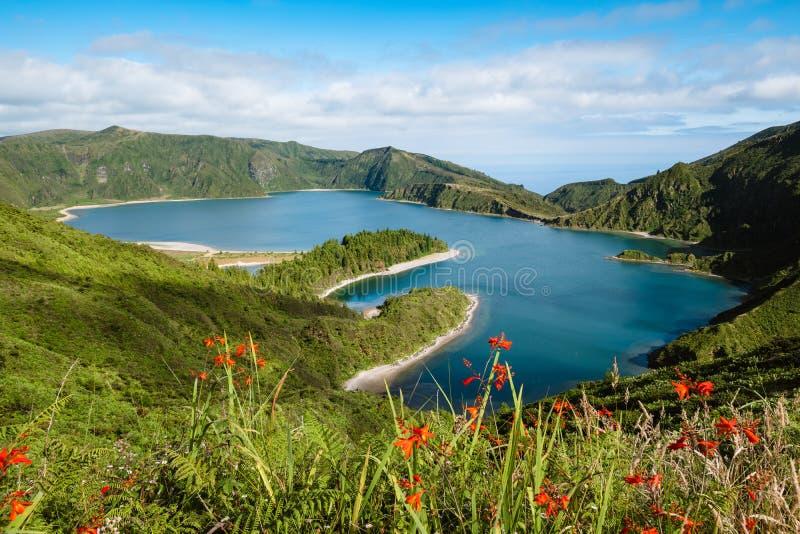 Lagoa font la lagune de Fogo du feu - îles des Açores image libre de droits