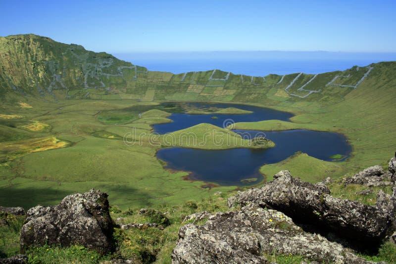 Lagoa gör Caldeira, Açores arkivbild