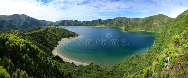 Lagoa gör Fogo panorama 13 arkivbild