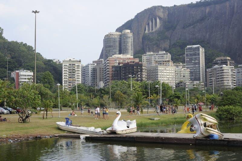 Lagoa lake is the recreational center for brazilians and tourists. Dcemeber 2011 - Rio de Janeiro, Brazil. Lagoa lake is the recreational center for brazilians stock photos