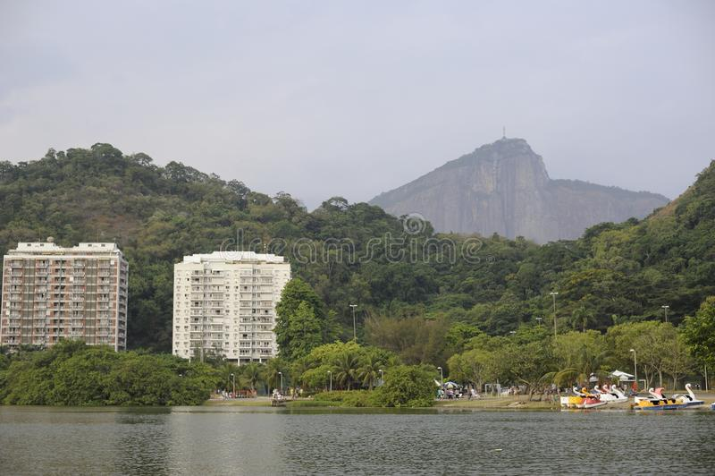 Lagoa lake is the recreational center for brazilians and tourists. Dcemeber 2011 - Rio de Janeiro, Brazil. Lagoa lake is the recreational center for brazilians royalty free stock image