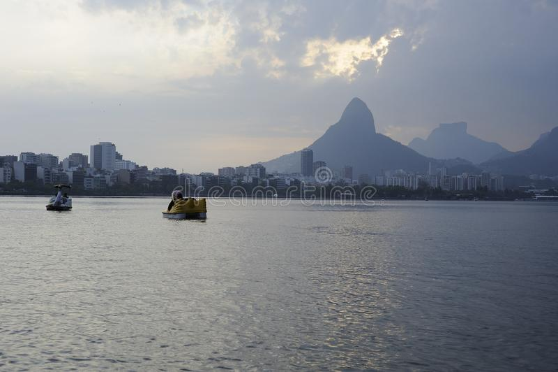Lagoa lake is the recreational center for brazilians and tourists. Dcemeber 2011 - Rio de Janeiro, Brazil. Lagoa lake is the recreational center for brazilians stock photo
