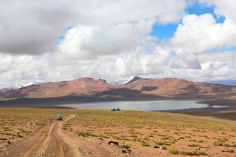 Lagoa Morejon no altiplano dos andes, Bolívia fotografia de stock royalty free