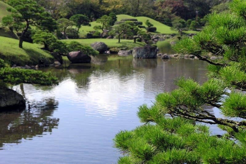 Lagoa no jardim japonês imagem de stock
