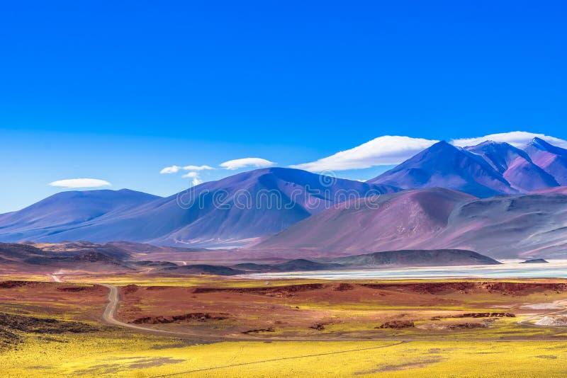 A lagoa Piedra Rojas e a montanha ajardinam no deserto de Atacama no Chile imagens de stock royalty free