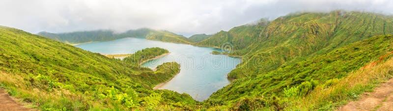 Lagoa robi Fogo na wyspie Sao Miguel w Azores, Portugalia fotografia stock