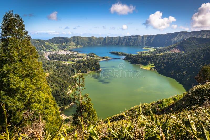 Lagoa Sete Cidades en la isla de Azores imagen de archivo libre de regalías