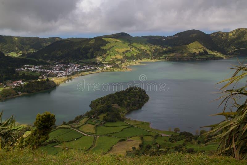 Lagoa Verde, Sao Miguel, Azores öar arkivfoto