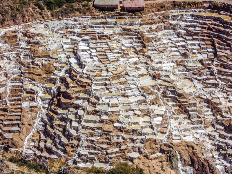Lagoas da evaporação de sal em Maras, Peru imagens de stock
