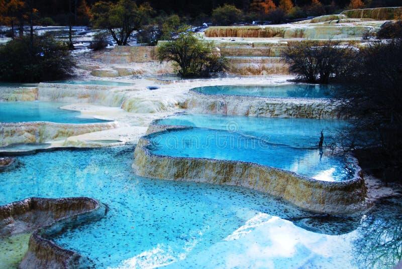 Lagoas de Miniscape em Huanglong foto de stock