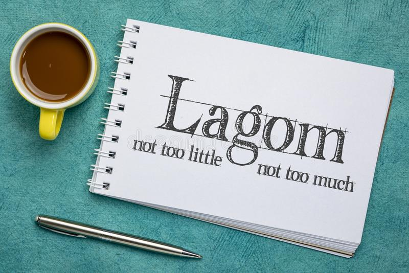 Lagom - filosofia svedese per vita equilibrata fotografia stock