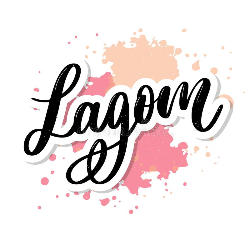Lagom meaning inspirational handwritten text. Simple scandinavian lifestyle stock illustration