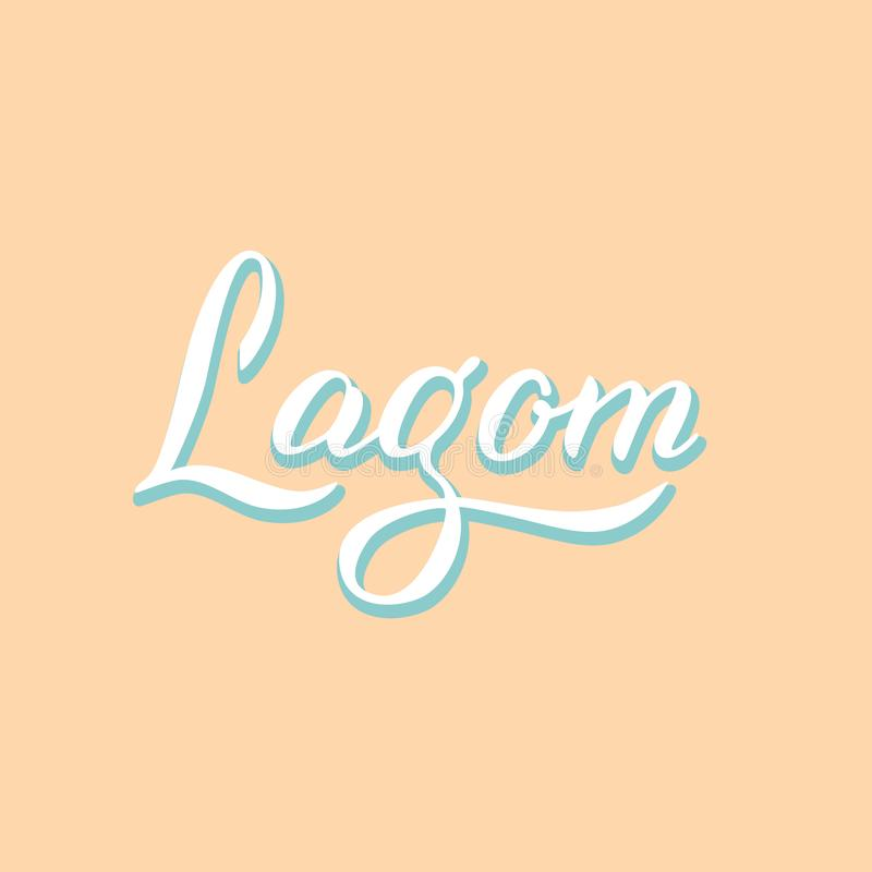 Lagom typography logo. Lettering trendy style book cover. Scandinavian lifestyle concept. Vector. Eps 10 stock illustration