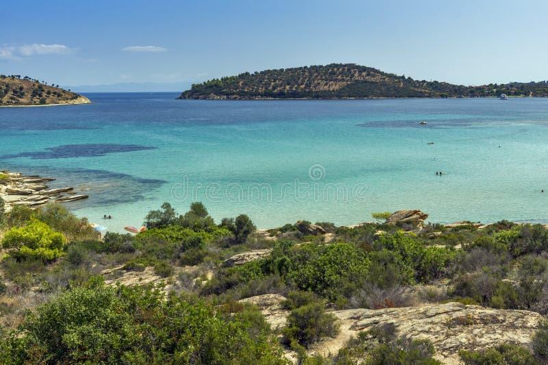 Lagonisi plaża, Chalkidiki, Sithonia, Środkowy Macedonia zdjęcia royalty free