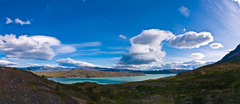 Lagonordenskjoeld Torres del Paine Chili Panorama royalty-vrije stock fotografie