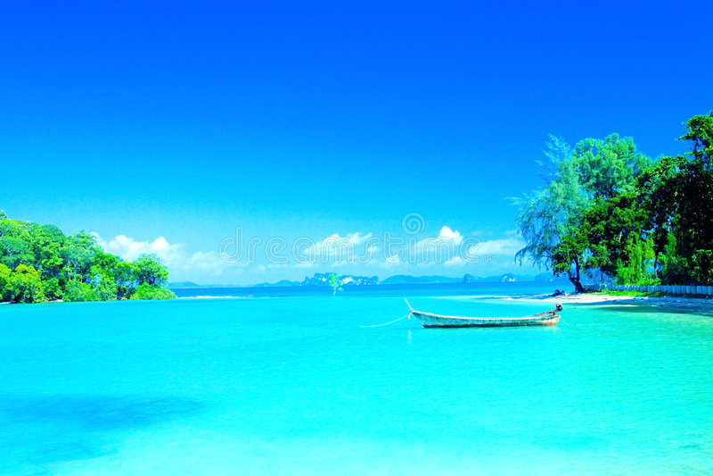 lagoon beach in resort bay of Krabi, Thailand. royalty free stock images