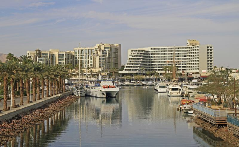 The lagoon in city Eilat. The southern Israel stock photography