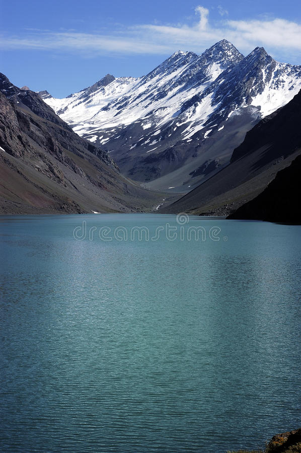 Lagoon of Inca, Chile. The Laguna del Inca, is the name given to a lagoon located in the Andes mountain range in the Portillo, located in the province of Los stock photos