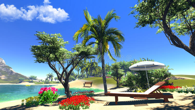 Lagoon with lounge and umbrella. Paradise lagoon with lounge and umbrella stock photos