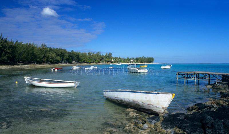 Lagoon At Low Tide Mauritius Island Stock Image - Image of boat ...
