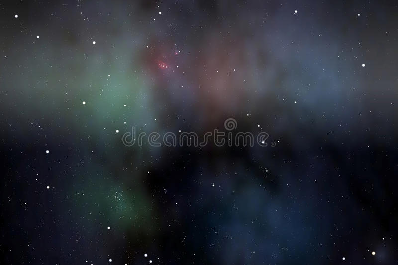 Lagoon nebula. The lagoon nebula (in red) inside large hydrogen clouds of the Milky Way stock illustration