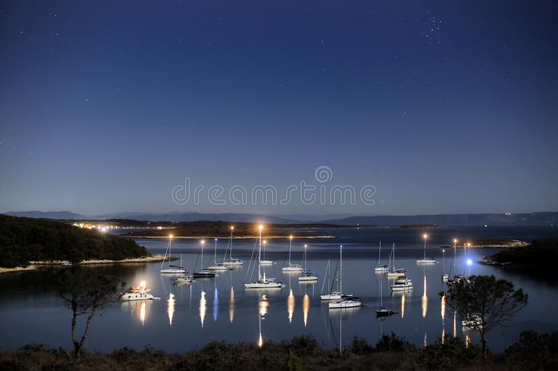 Download Lagoon at night light stock image. Image of europe, peaceful - 35326791