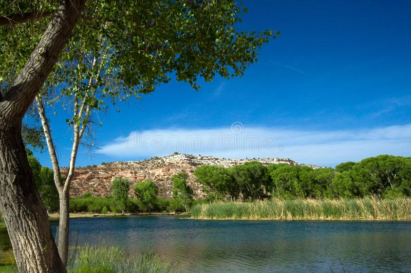 Water from the Verde River fills the lagoon, or marsh, at Dead Horse Ranch State Park near Cottonwood, Arizona. Lagoon with water from the Verde River, marsh royalty free stock photography