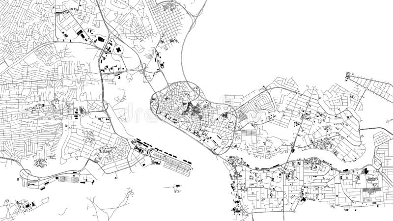 Lagos map, satellite view, city, Nigeria. Streets and house. On a white background royalty free illustration