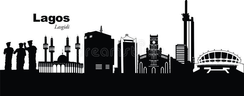 Lagos, Nigeria. Vector illustration of the skyline cityscape of Lagos, Nigeria, Africa
