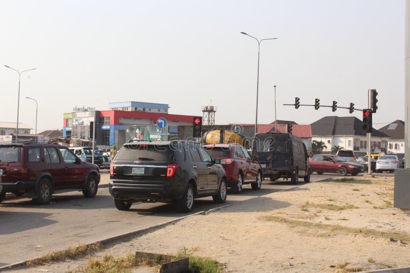 Lagos semáforo la autopista de Epe, Lagos Nigeria fotografía de archivo