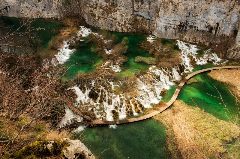 Lagos y cascadas espectaculares Plitvice fotos de archivo libres de regalías