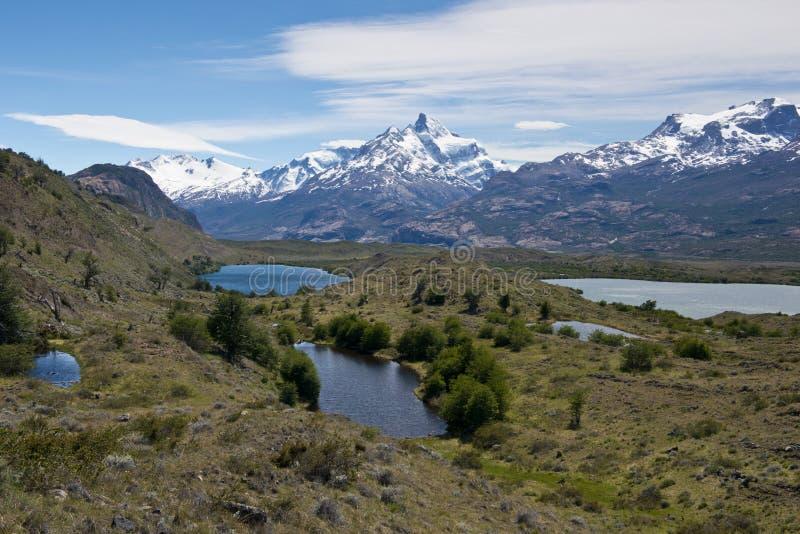 Lagos y los Andes de Estancia Cristina fotografía de archivo