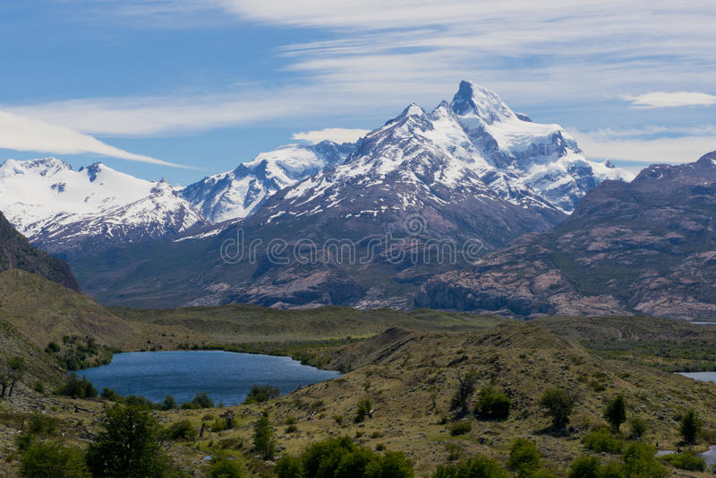 Lagos y los Andes de Estancia Cristina imagenes de archivo
