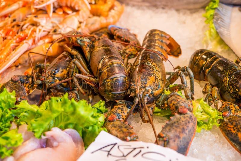 Lagostas frescas para a venda no mercado de peixes exterior em Veneza, Itália fotografia de stock