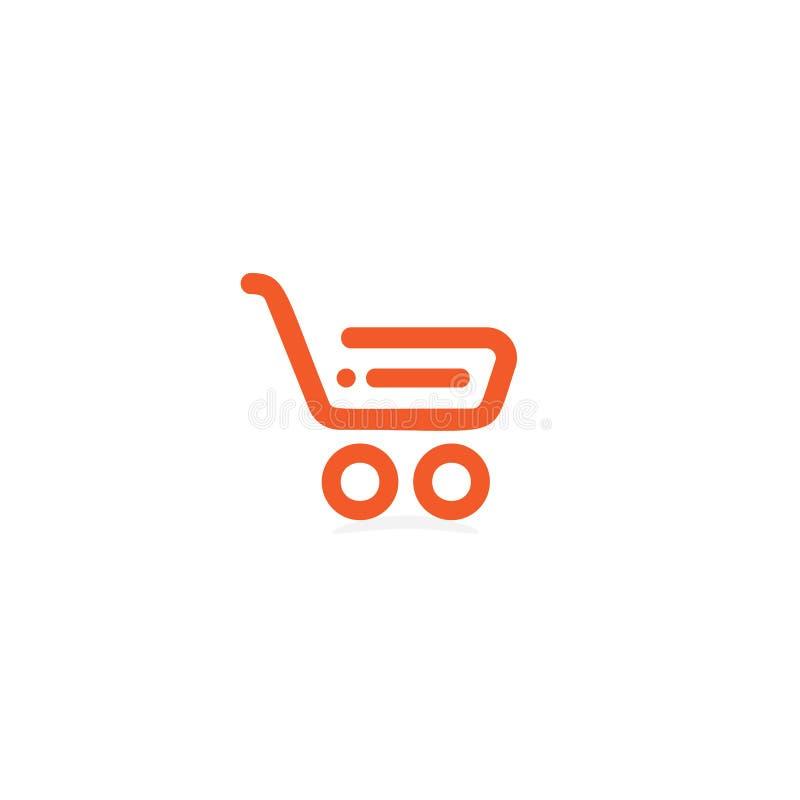 Lagra den linjära symbolen, shoppingkorg, shoppa logotypen, mall för logo för marknadsvektor orange på vit bakgrund royaltyfri illustrationer