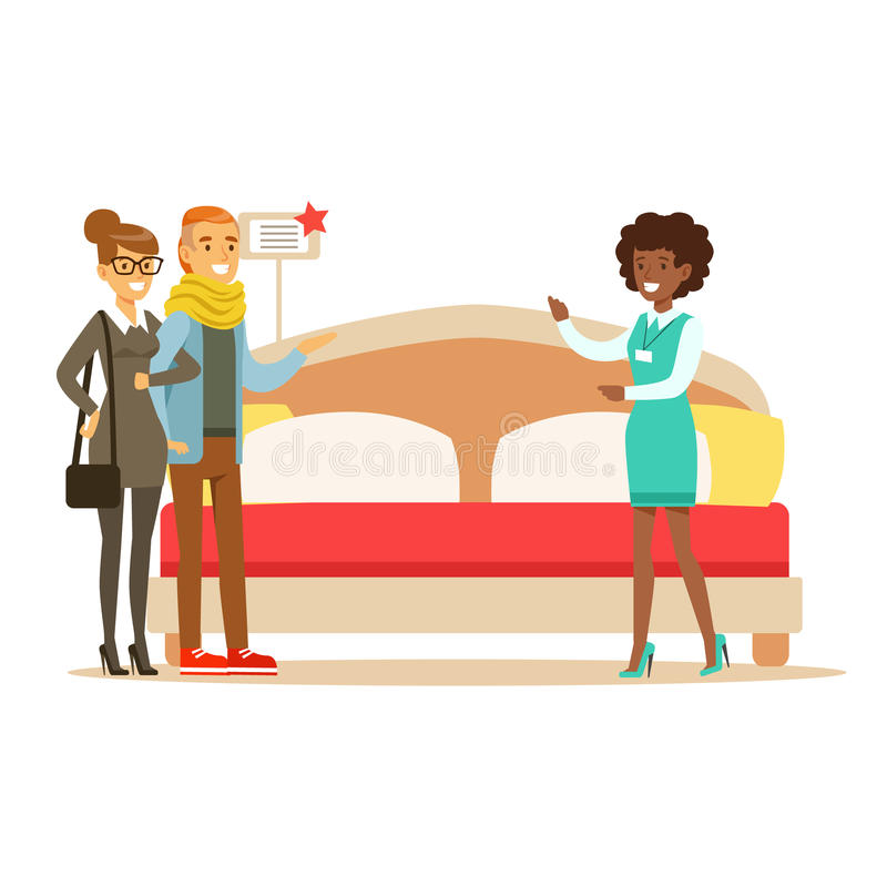 Lagra säljaren som visar par för konungen som Size Bed To ler shopparen i möblemang, shoppar shopping för husdekorbeståndsdelar vektor illustrationer