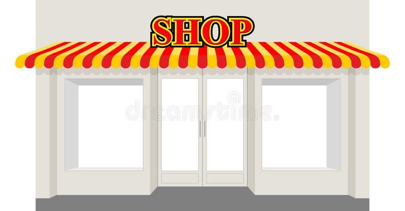 Lagra ställer ut Fasaden av shoppar byggnad Skyltfönster med bandet royaltyfri illustrationer