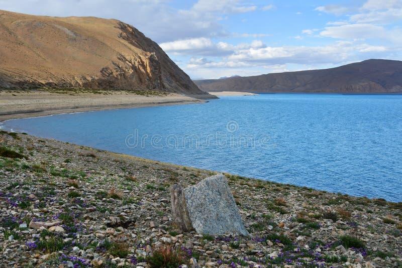 Lagret av den heliga Rakshas Tal sjön i juni, västra Tibet, Kina Denna sjö också som är bekant som demon sjön, Ravana Tal eller R arkivbilder