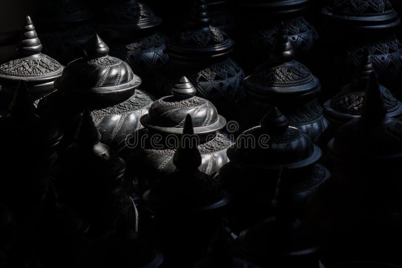 Lagret av svart lerakrukmakeri fotografering för bildbyråer